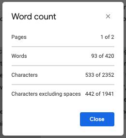 Word Count, Google Docs