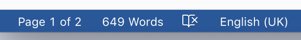 status bar, microsoft word