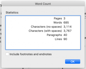word count, microsoft word